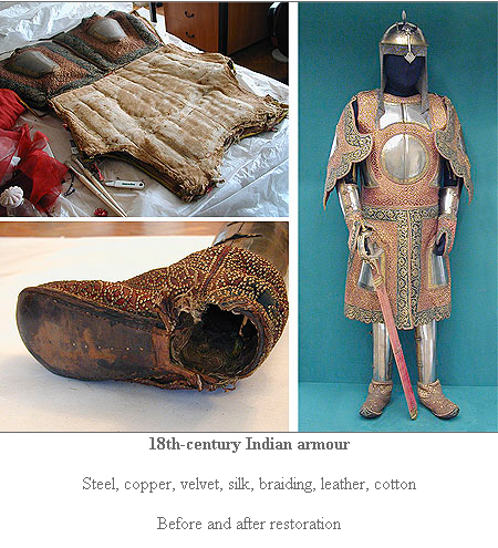 """A """"coat of a thousand nails"""" undergoing cleaning and restoration.  Seems to be same armour sketched in H. Russell Robinson, """"Oriental Armour"""" fig. 52d.  Photo c/o Department of Scientific Restoration and Conservation, State Hermitage Museum, Leningrad (Link)."""