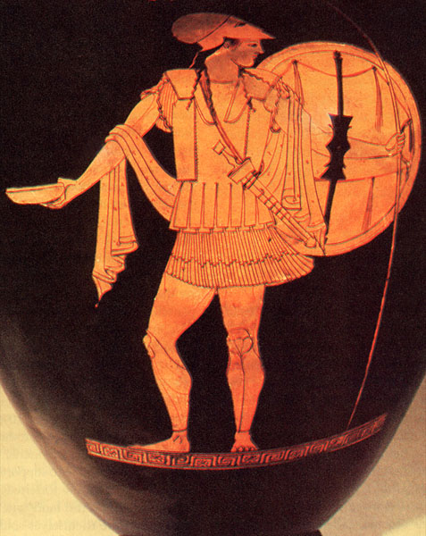 Hoplite armed with plate greaves, a soft cuirass with shoulder flaps, and a bronze Corinthian helmet