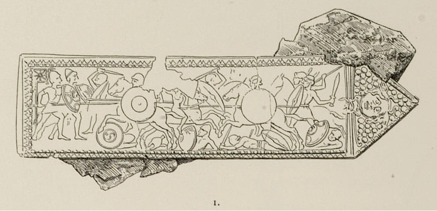 A line drawing of a bronze plate with reliefs of infantry fighting and cavalry dashing back and forth