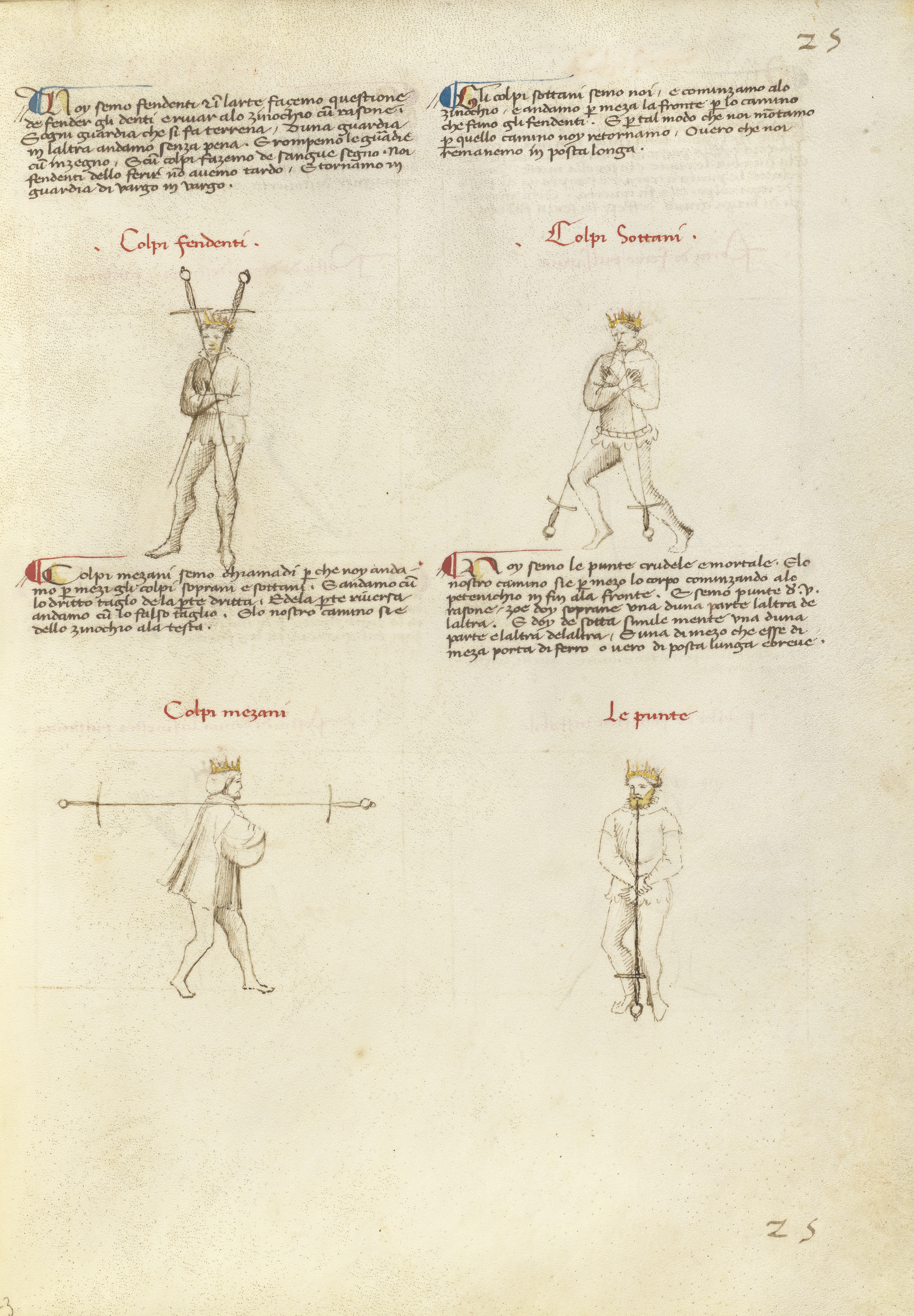 Image of an illuminated manuscript with four pictures of standing men overlaid with swords, each with a caption over his head