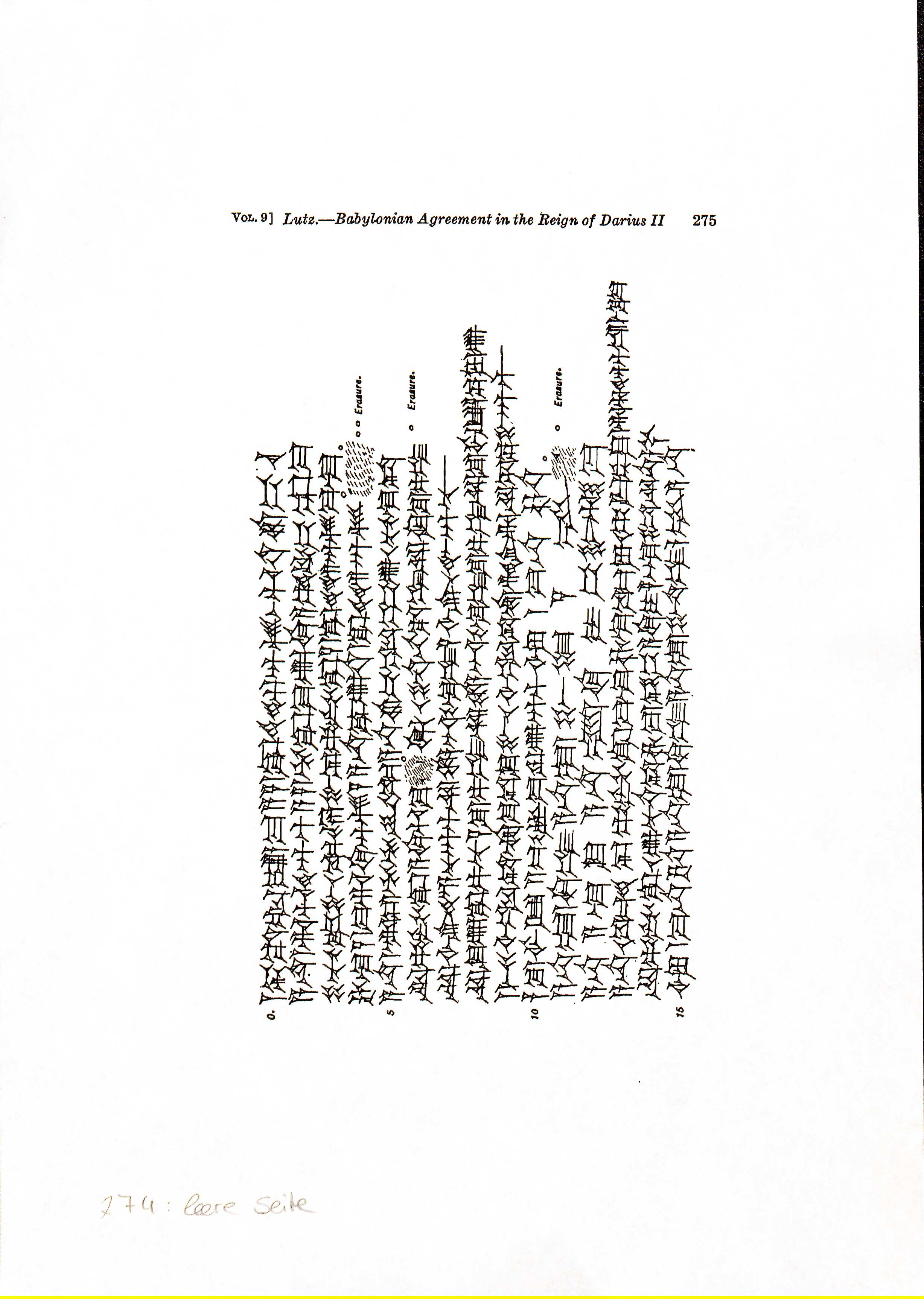 A drawing of cuneiform signs and seal impressions