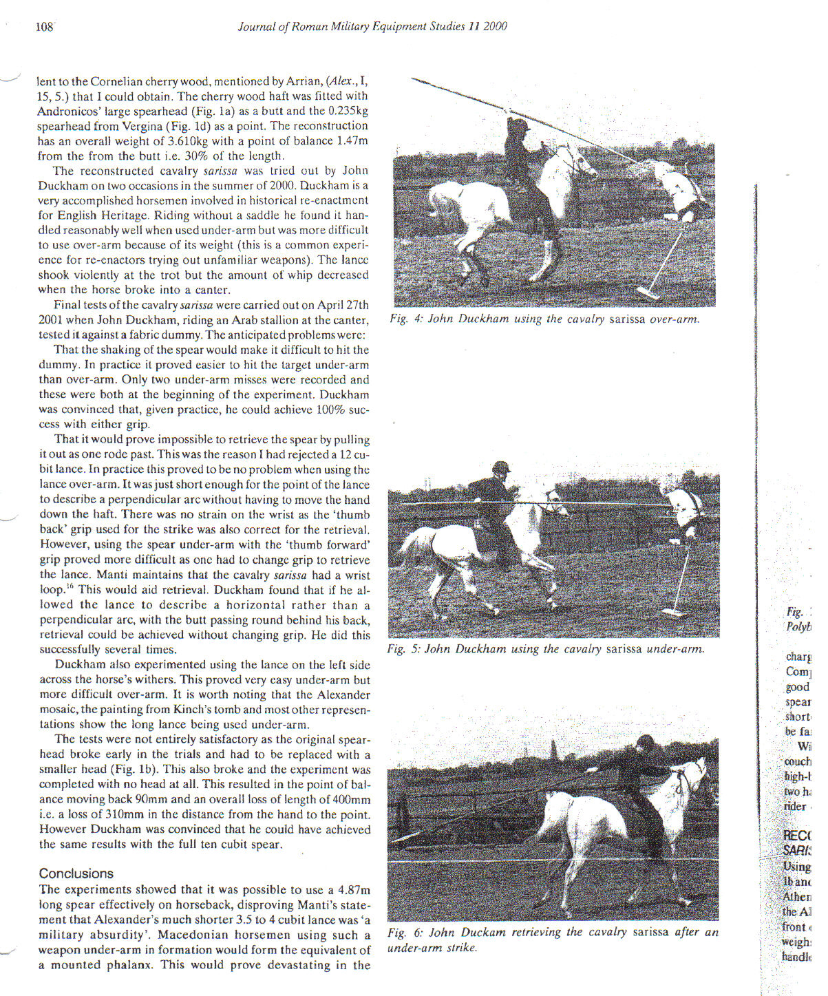 Horseman canters at a dummy thrusting a lance overhand and underhand into a dummy on a post