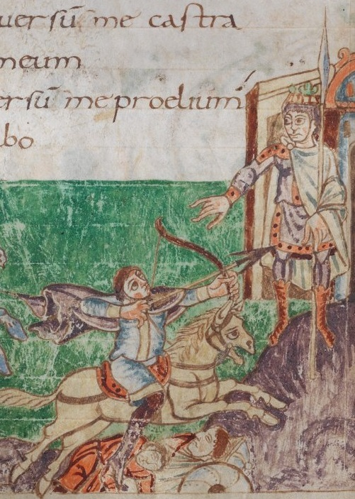An archer on a galloping horse takes aim at a king with a broad-headed arrow