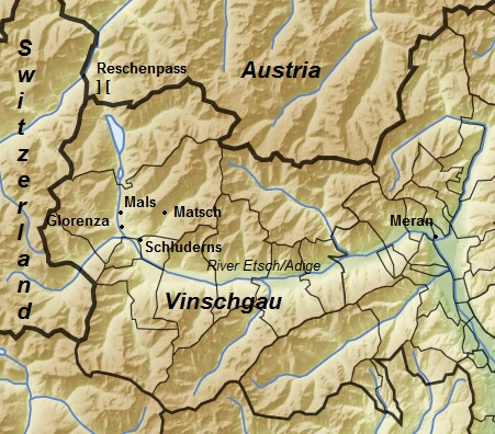 Topographic map of the upper Adige valley ie the Vinschgau