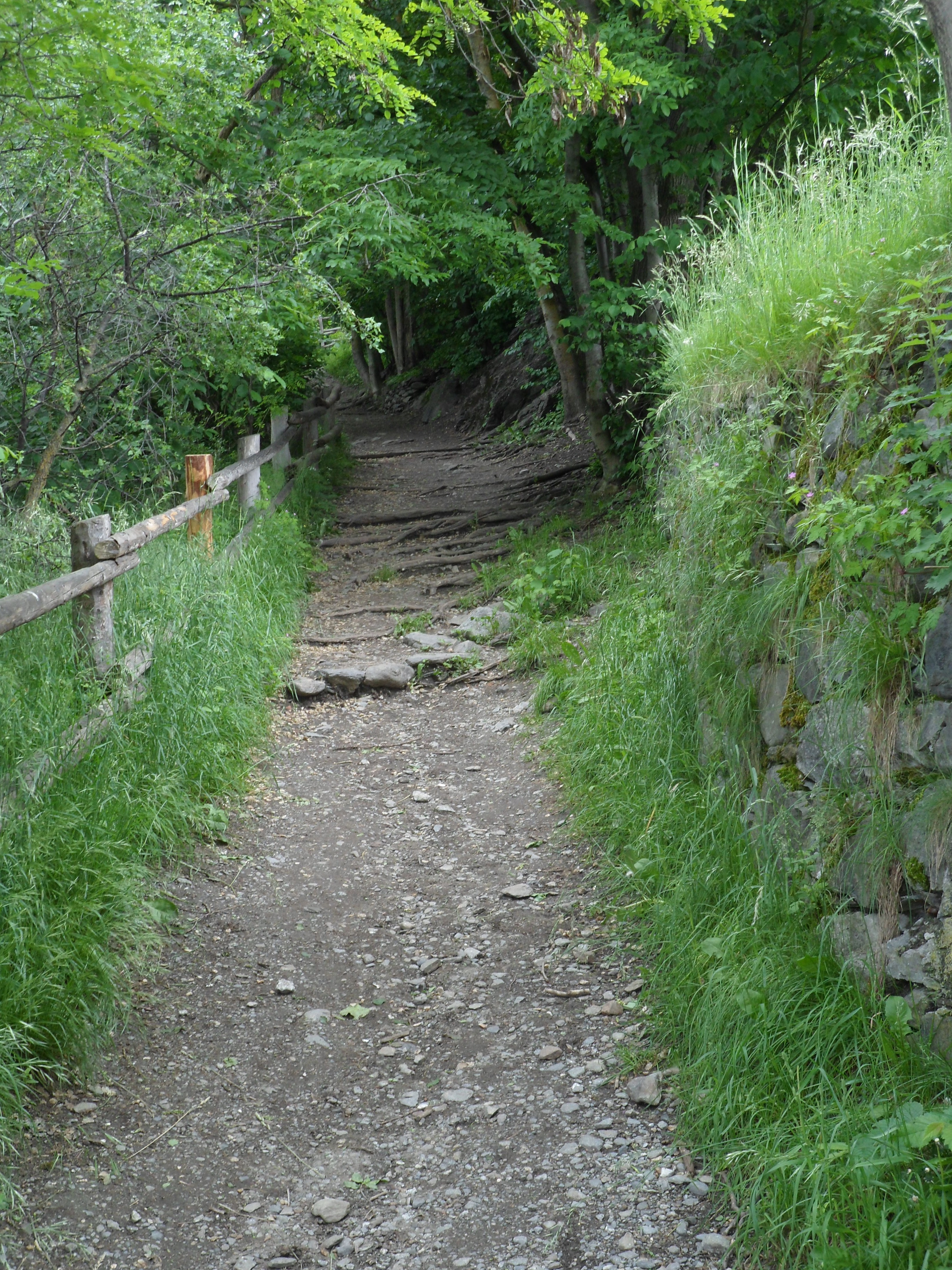 A dirt-and-gravel path with a stone terrace wall on one side and a log-and-post fence on the other