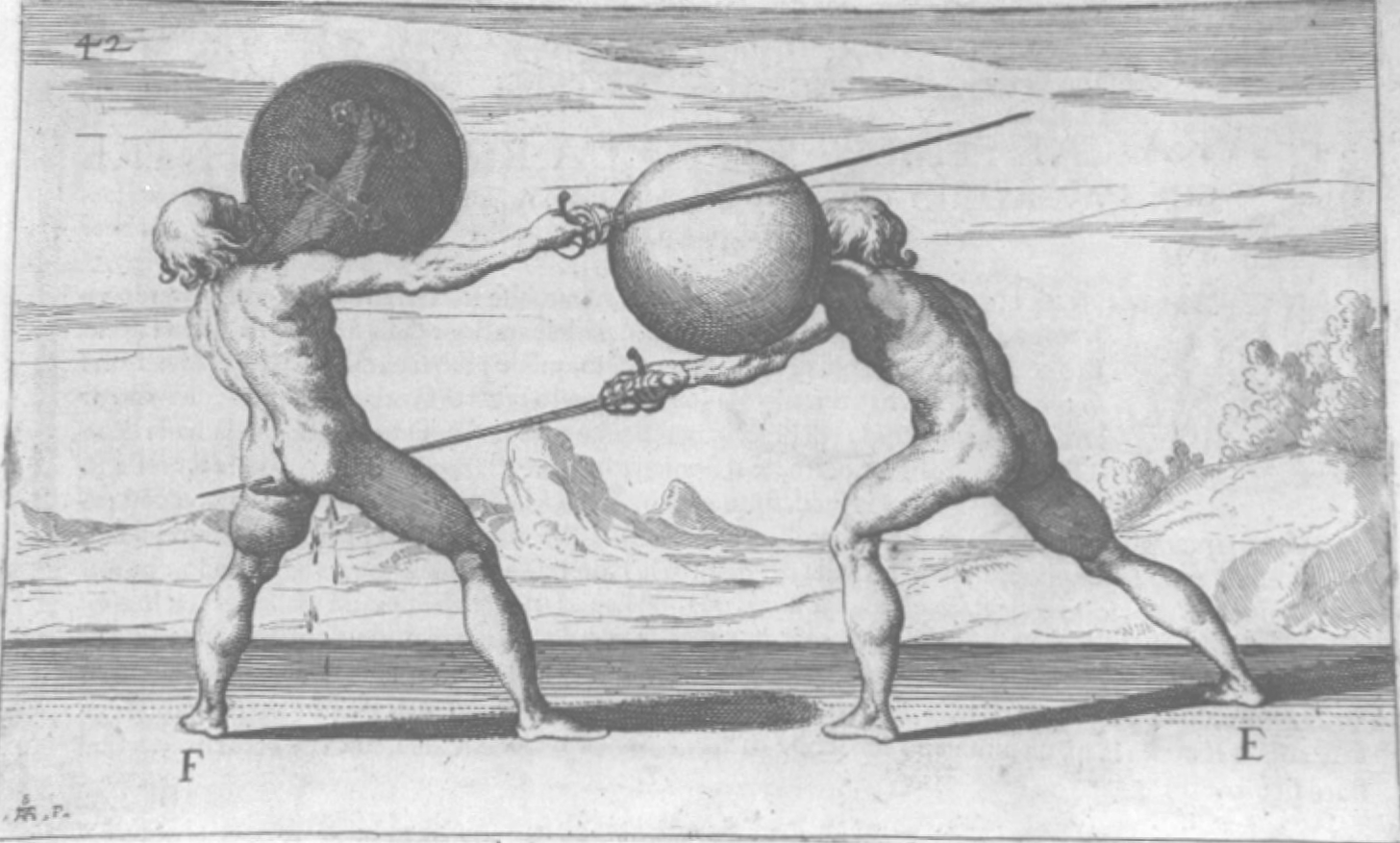 A photo of two naked fencers with round strapped shields and long thrusting swords.