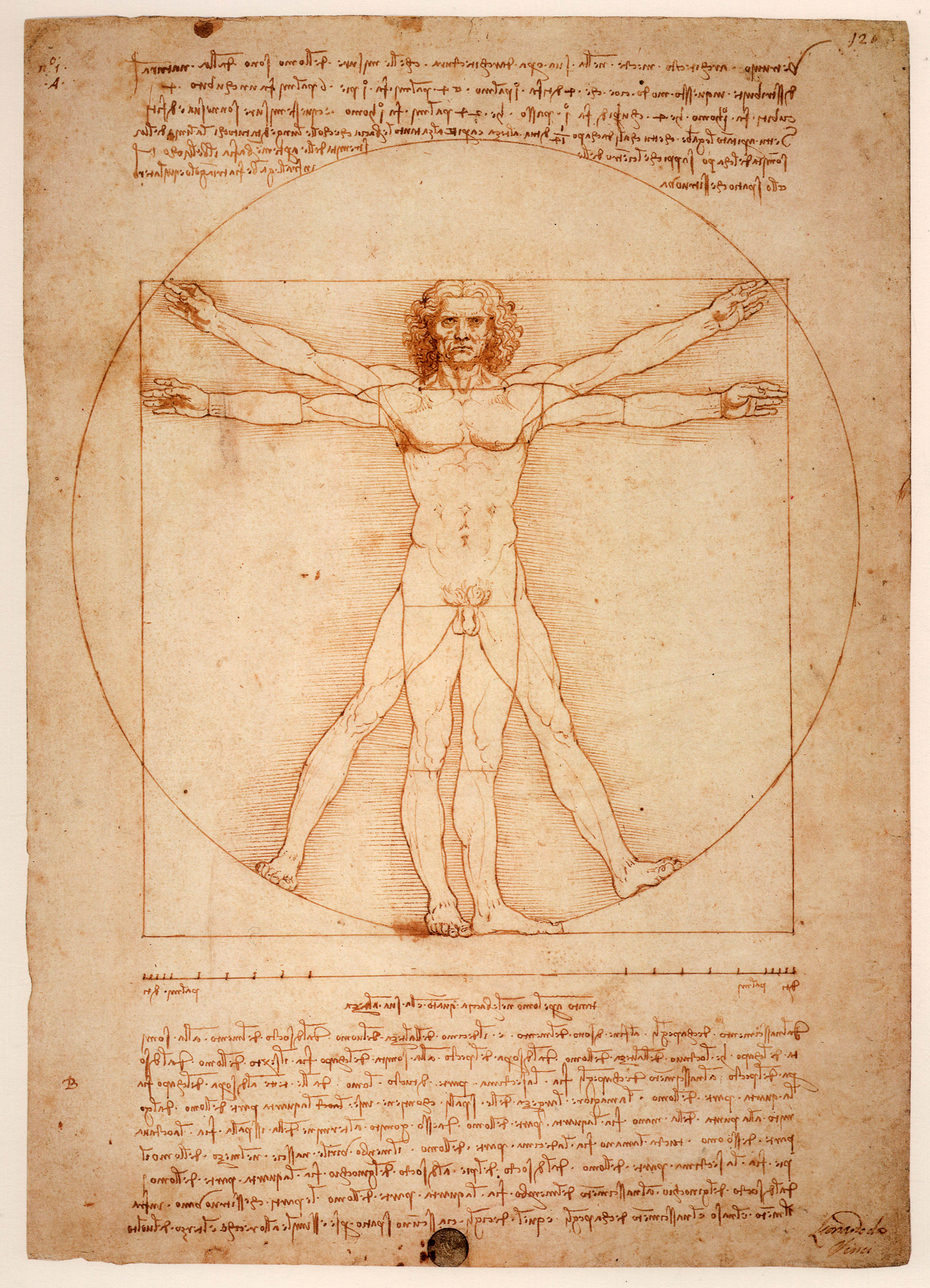 A pen drawing of a nude man with his arms extended standing within a square and a circle.