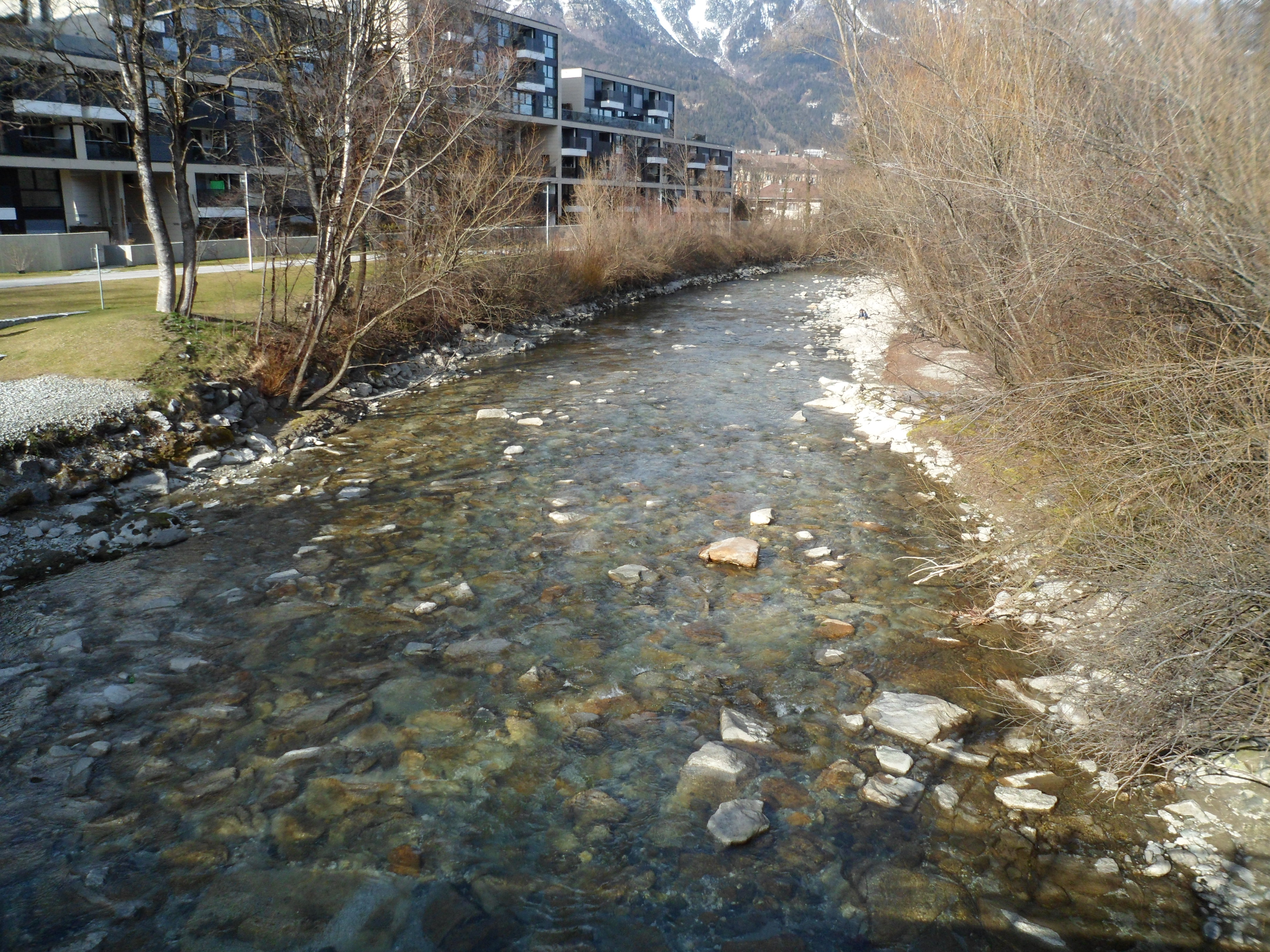 A crystal-clear river with broad stretches of gravel and some hibernating trees on either bank and a blocky glass building in the background.