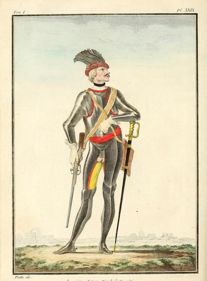 An 18th century coloured print of a man in armour from neck to foot wearing a long straight sword and a carbine on a sling