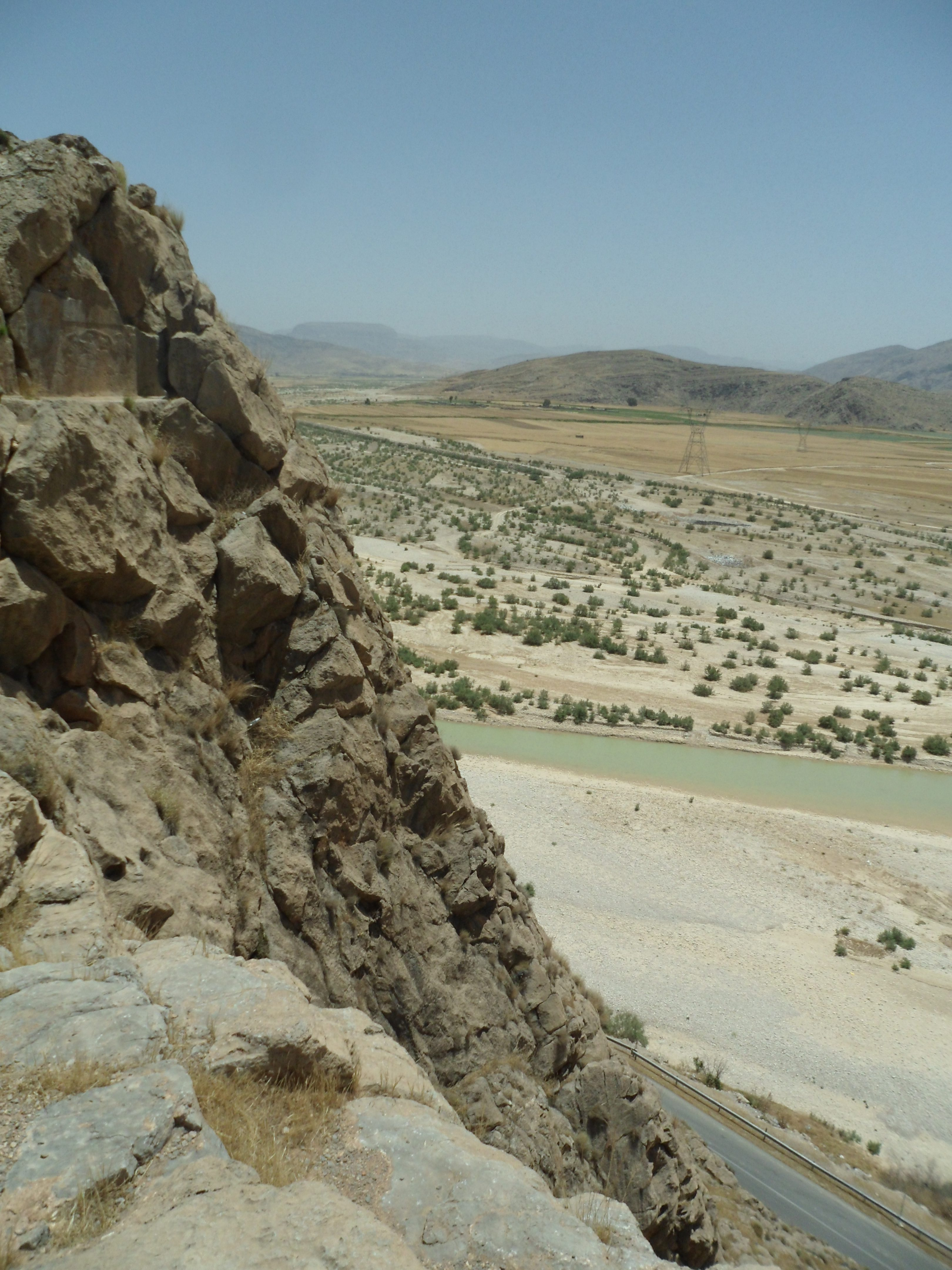 The Elamite rock relief and valley below at Kurangun in Iran.  Photo by Sean Manning, May 2016.