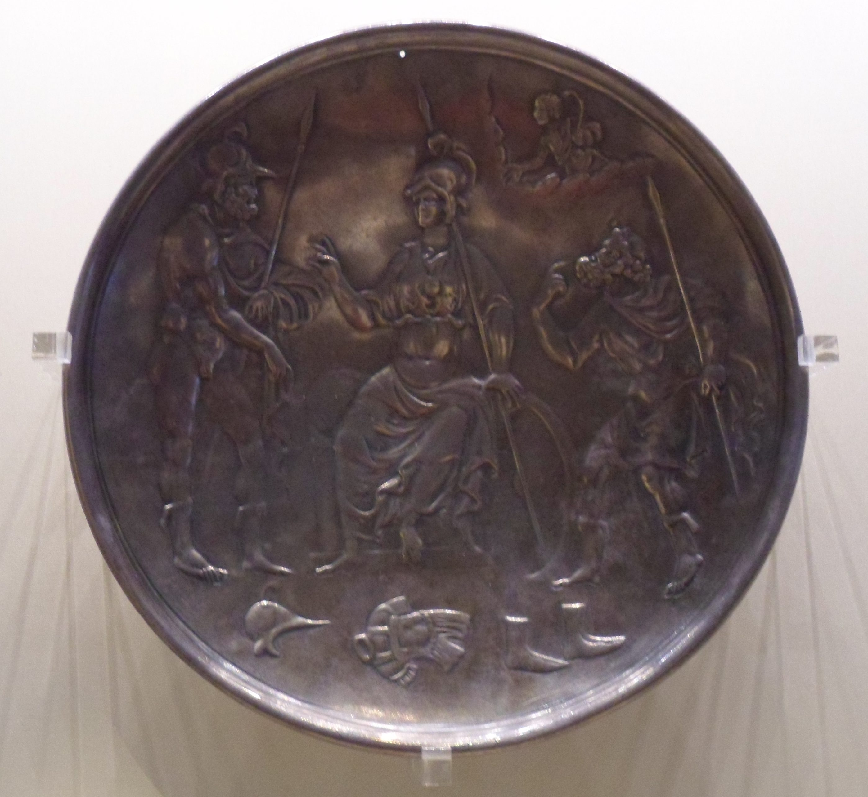A wrought silver bowl showing Ajax, Athena, and Odysseus