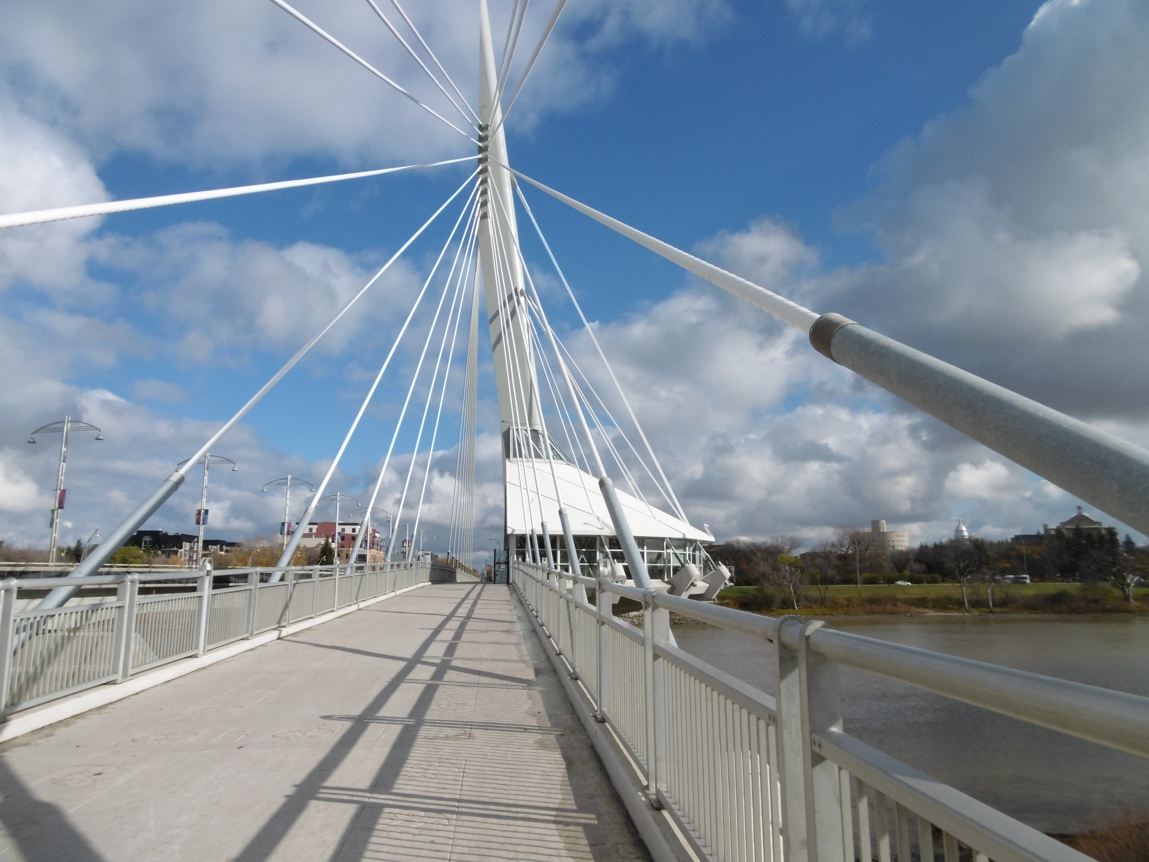 Looking east along the footbridge over the Red River at Winnipeg.  Photo by Sean Manning, October 2016.