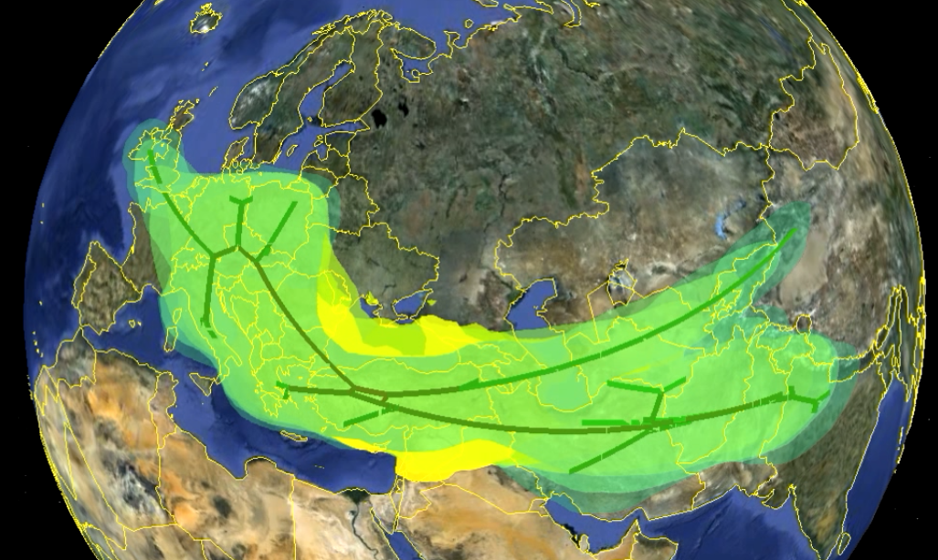 A Google Earth map of Eurasia overlaid with a tree of Indo-European languages and various coloured blobs representing areas certain to have already been occupied by Indo-European speakers.