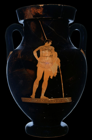 A red figure vase painting of Achilles standing