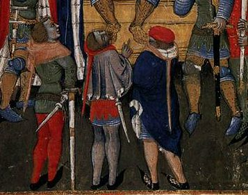 """Short pleated cloak worn by a soldier in the """"Pharsalia"""" painted by Niccolò da Bologia in 1373 (Bib. Trivulziana MS 691 folio 86r).  Image courtesy of the Web Gallery of Art"""