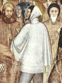 A man dressed in gray with a pointed beard approaches a group of enthroned bishops