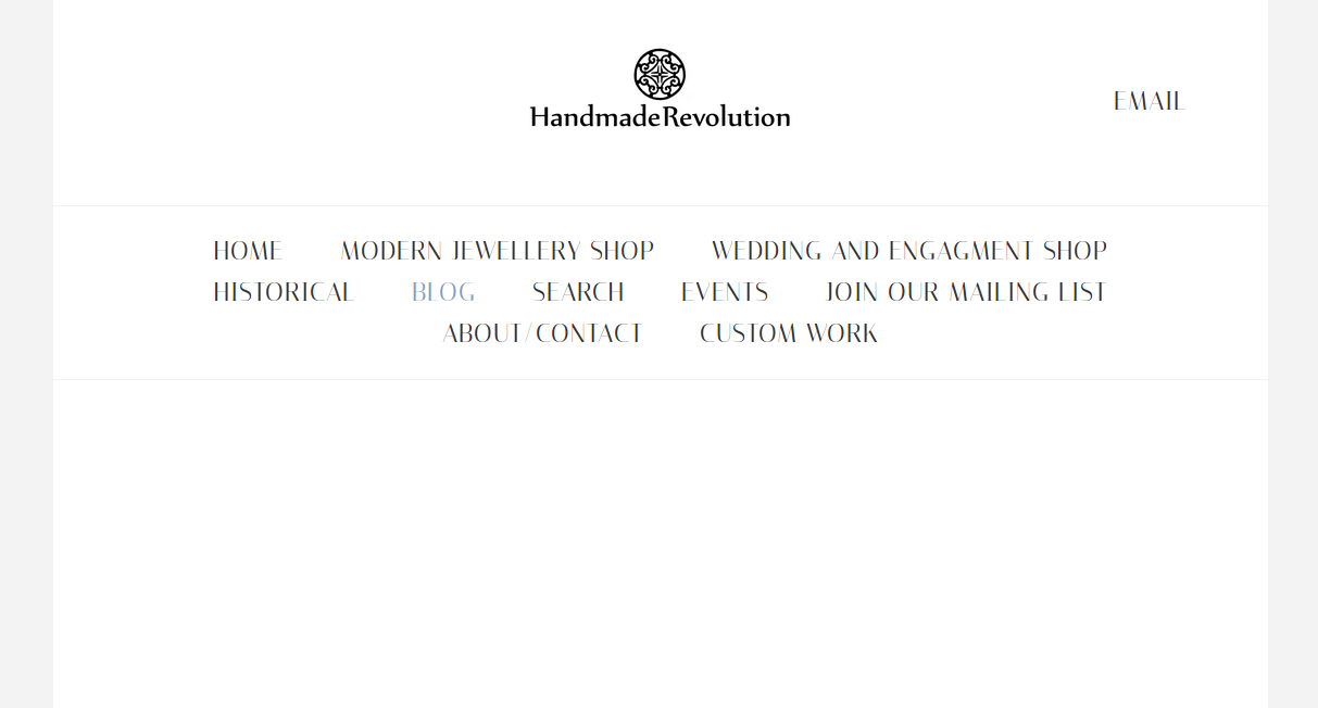http://www.handmaderevolution.org/blog/ with scripts disabled: an ocean of whitespace and grey text with no blog visible at all