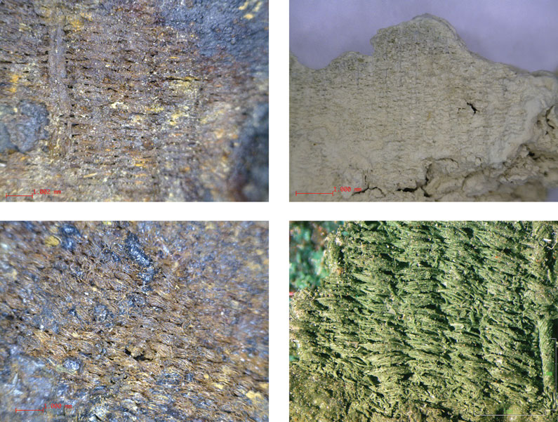 Colour photos of a section of woolen textiles preserved as copper salts or ashes