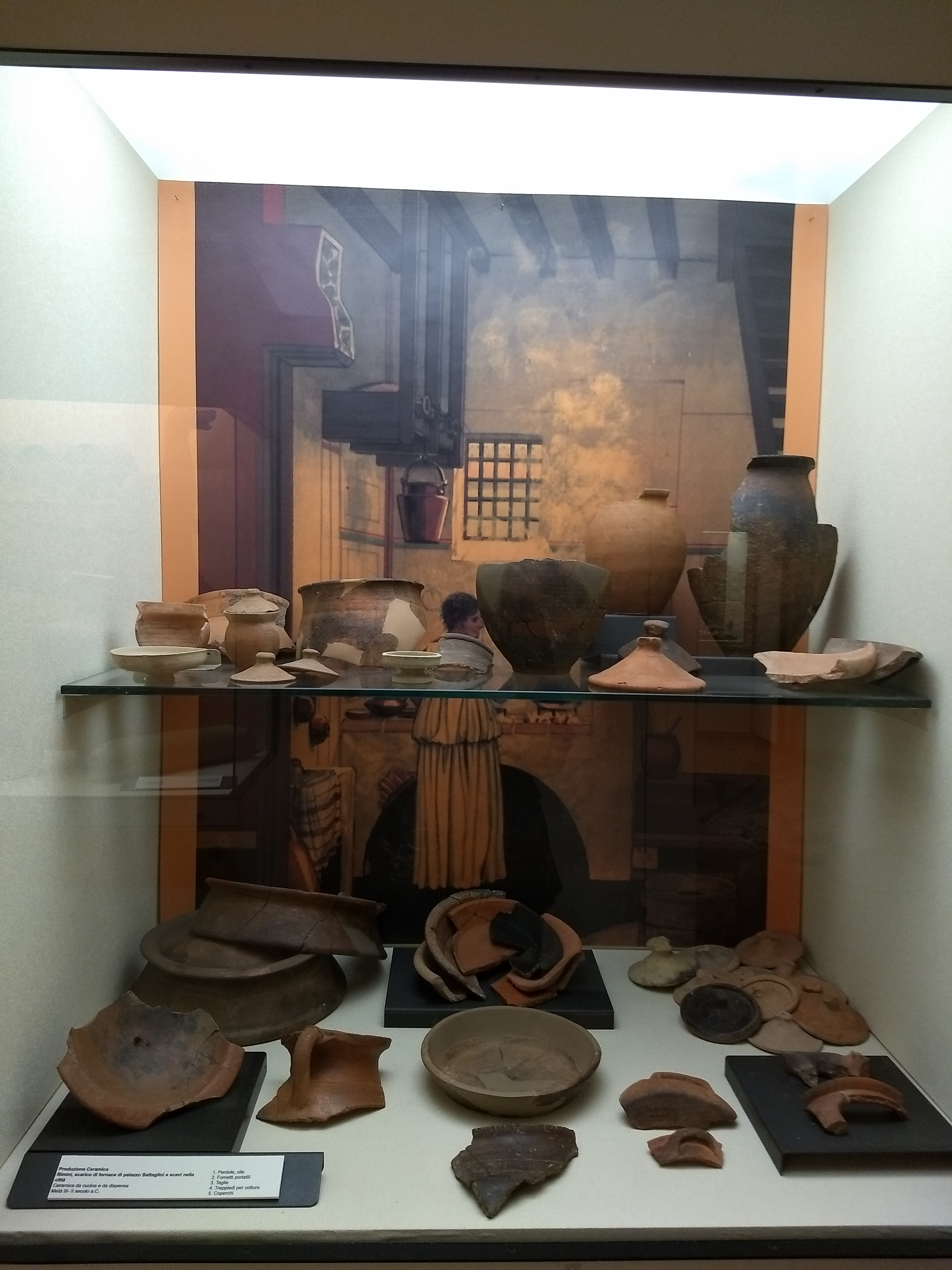 A collection of Roman potsherds in front of a painting of a kitchen at Pompeii by Peter Connolly