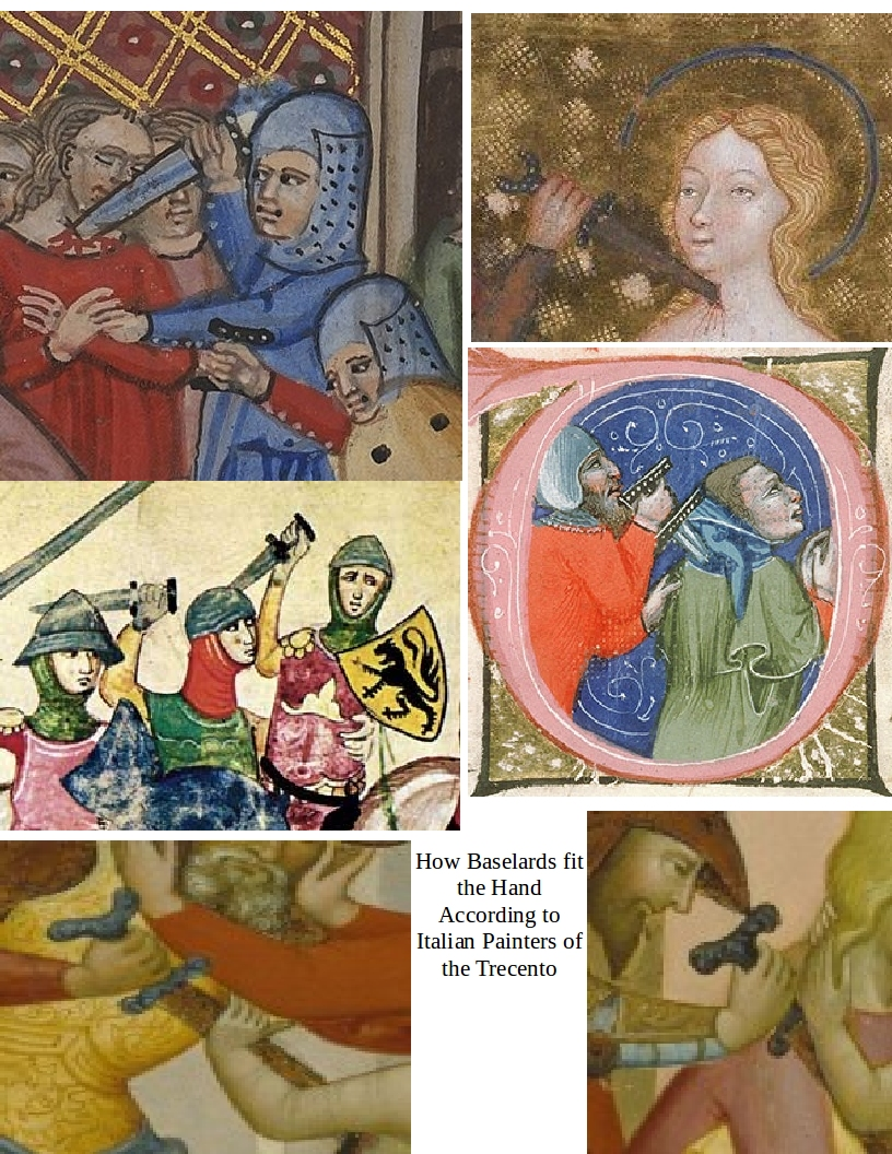 Six scenes of soldiers brandishing daggers with black hilts studded with white rivetsin their bare hands