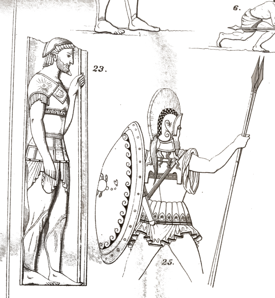 Two line drawings of Greek hoplites with spears and body armour