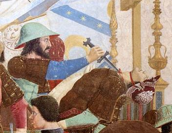 A neoclassical scene of a battle where one soldier stabs another in the neck with a dagger