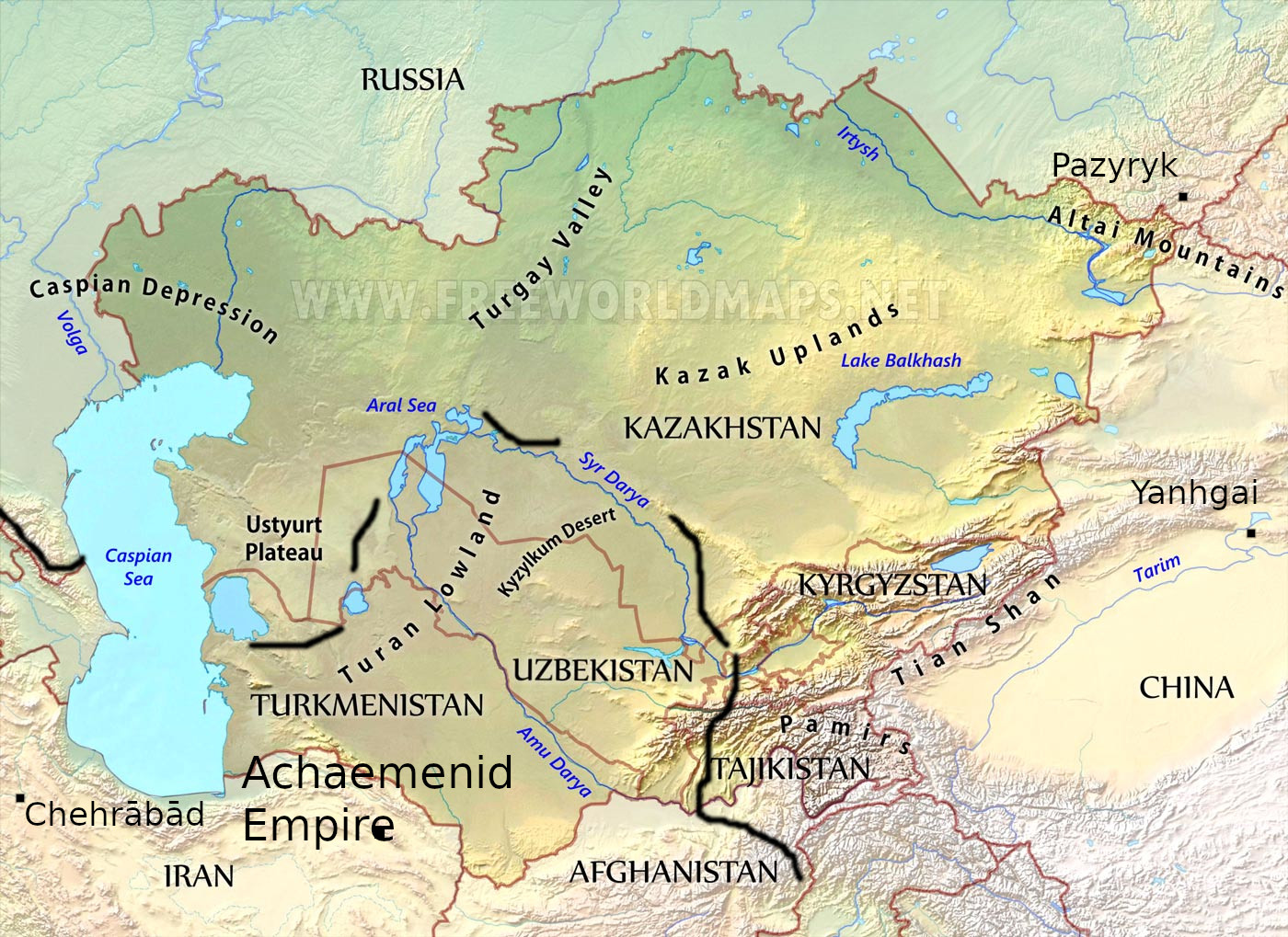 A topographical map of central Asia with modern borders and ancient sites