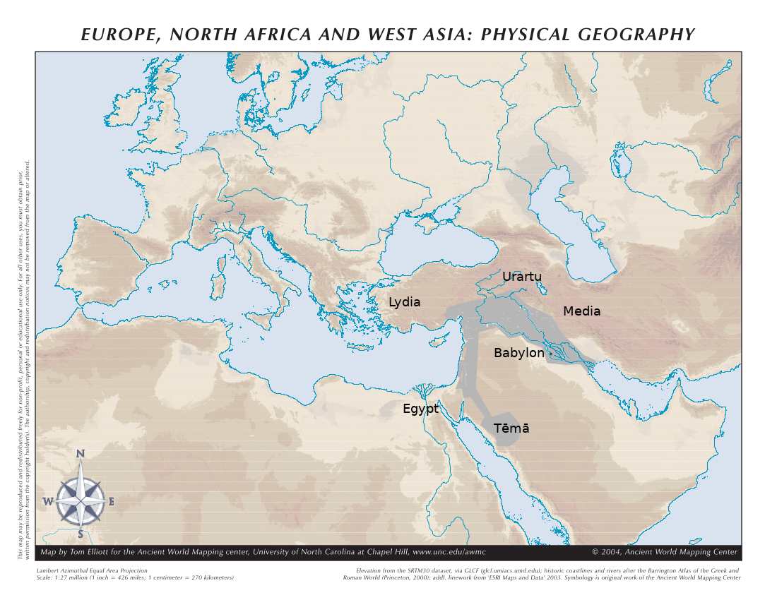 A topographic map of western Eurasia with the Neo-Babylonian Empire coloured in