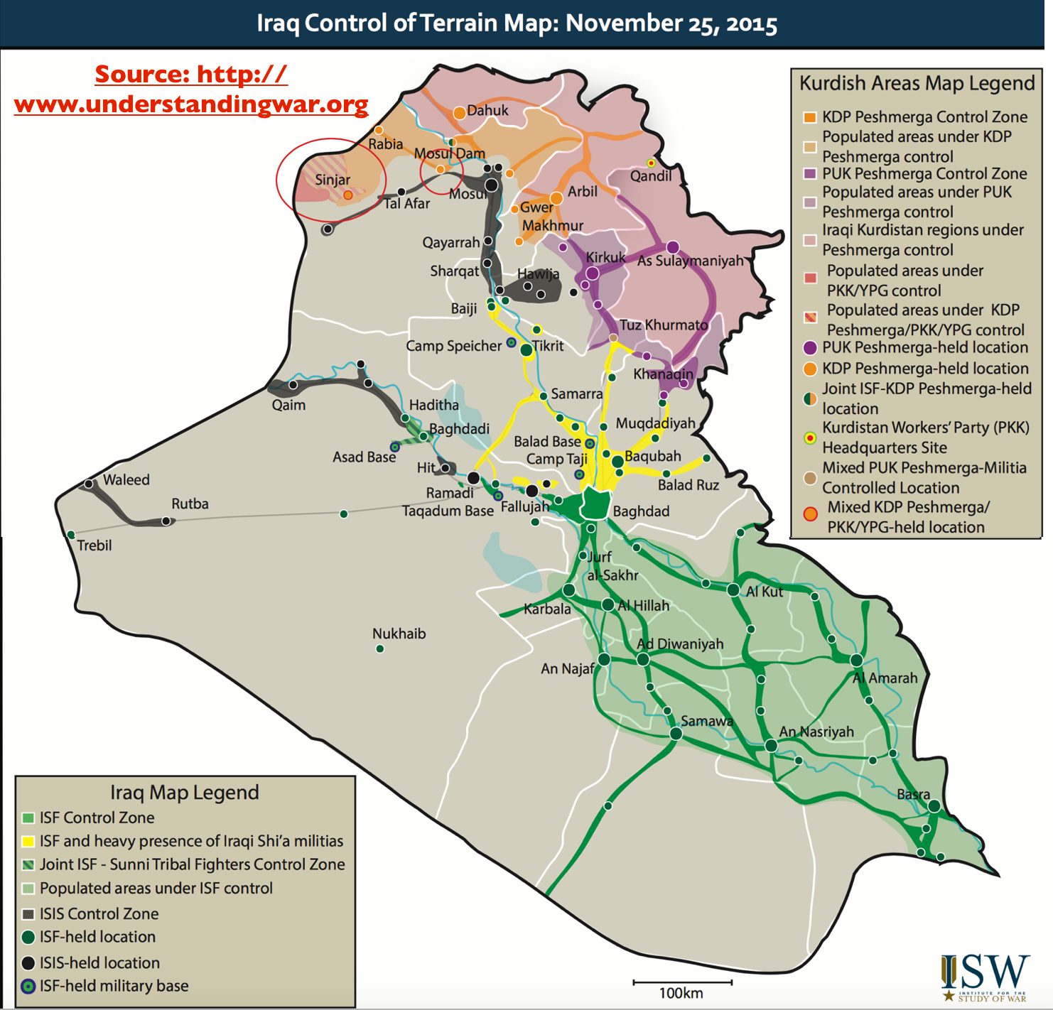 A map of the wars in Iraq in November 2015.  Half of the county, the half which is desert away from roads, is marked as belonging to nobody, while the rest belongs to various pro-Baghdad, Kurdish, and Islamist factions
