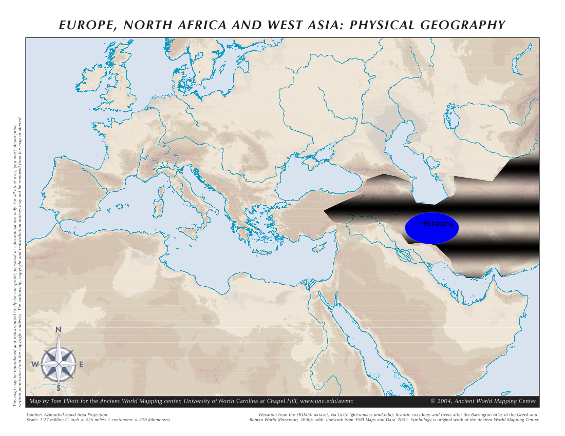 A topographical map of Western Eurasia in antiquity