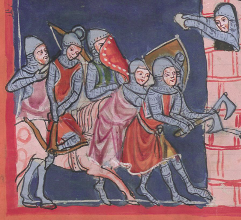 Men in foot attack a castle with axes while a crossbowman on horseback spans a crossbow and another horseman protects him with a shield