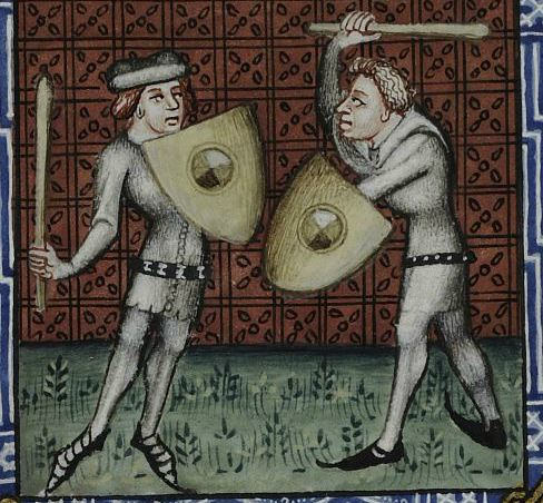 a painting of two men in doublets and cutaway shoes fencing with clubs and heater shields with bosses