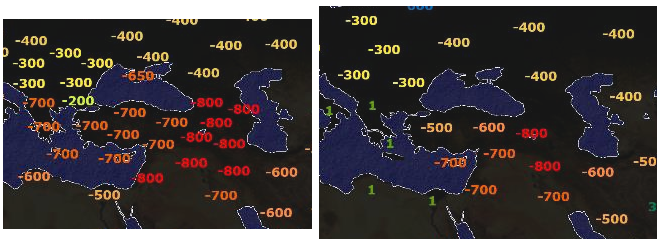 Two side-by-side outline maps of Southwest Asia and the Balkans with coloured dates marked on them