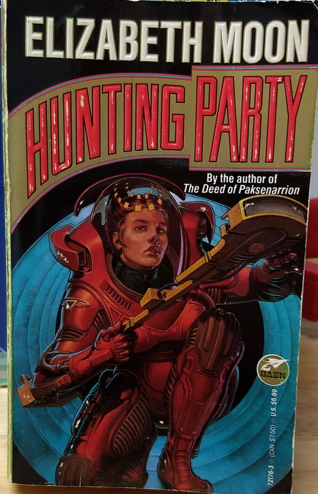 """the embossed posterboard cover of Elizabeth Moon's """"Hunting Party"""" (1979)"""