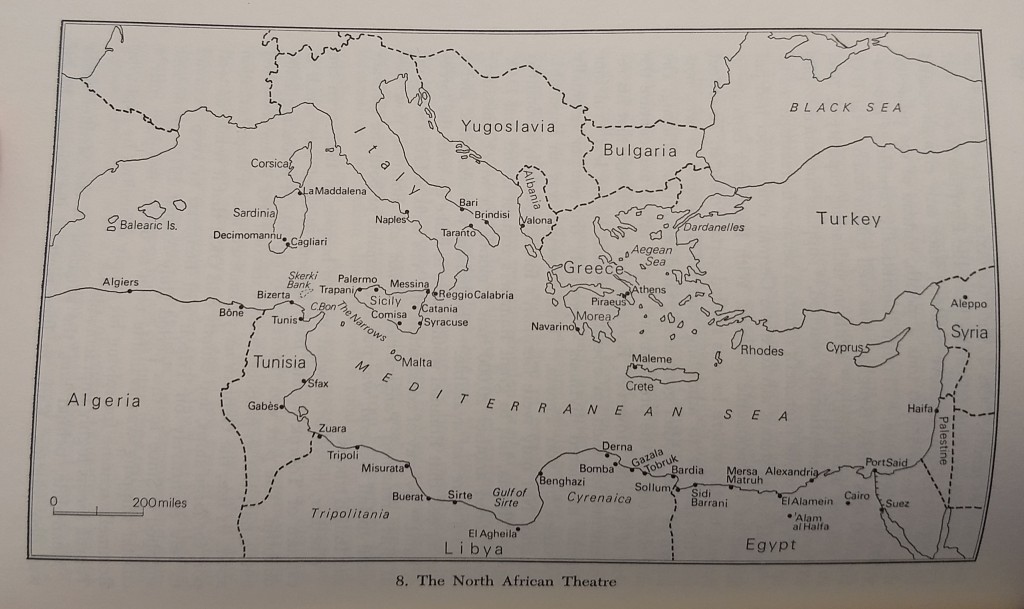 a map of the mediterranean theatre of operations in 1942