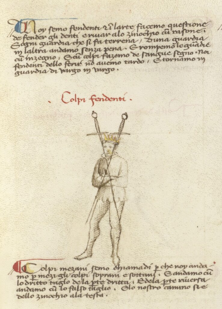 A man standing wearing a crown with his arms crossed and two swords pointing from one side of his jaw to his opposite knee